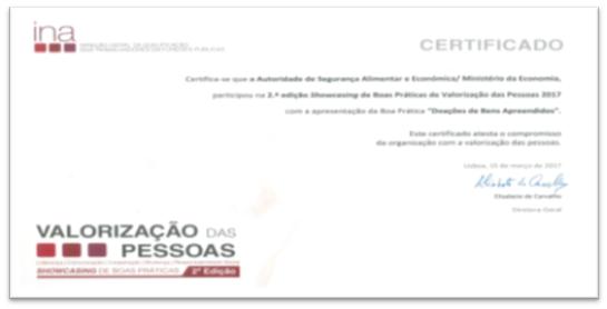 Certificado de participação da ASAE com a boa prática